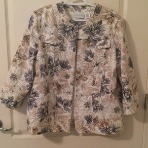 Alfred Dunner Floral Jacket Tan Gray White 16